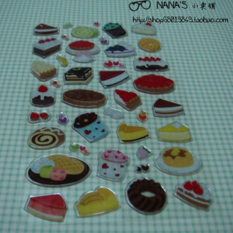 韩国小点心蛋糕水晶贴纸 可爱文具