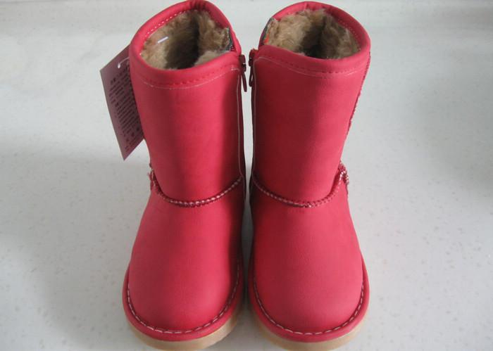 2011童靴女童靴牛皮靴儿童雪地靴保暖靴冬靴红色靴子棉鞋3351