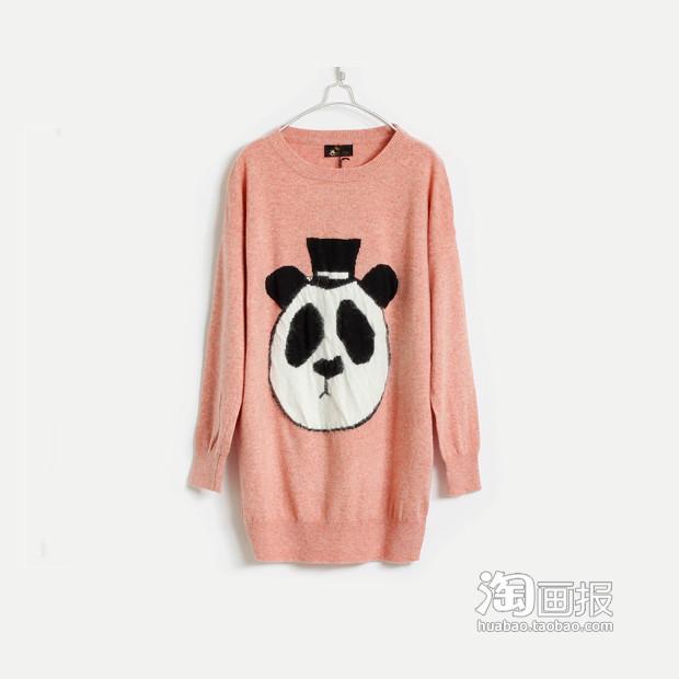 超级萌超级可爱大熊猫头像含兔毛超舒适柔软细毛线编织长款毛衣