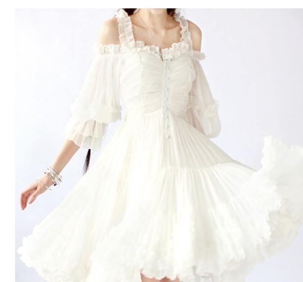 白色欧式复古露肩超大摆礼服连衣裙