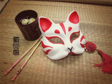 【二小姐家】日本狐狸面具 和服配饰 玉面红狐 和风手绘