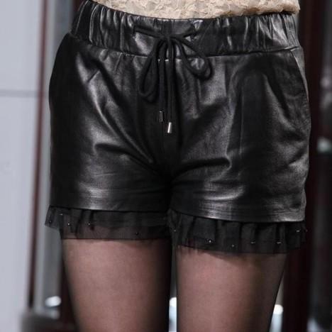 皮裤真皮绵羊皮秋冬款裤子可爱裤蕾丝花边半身裤子