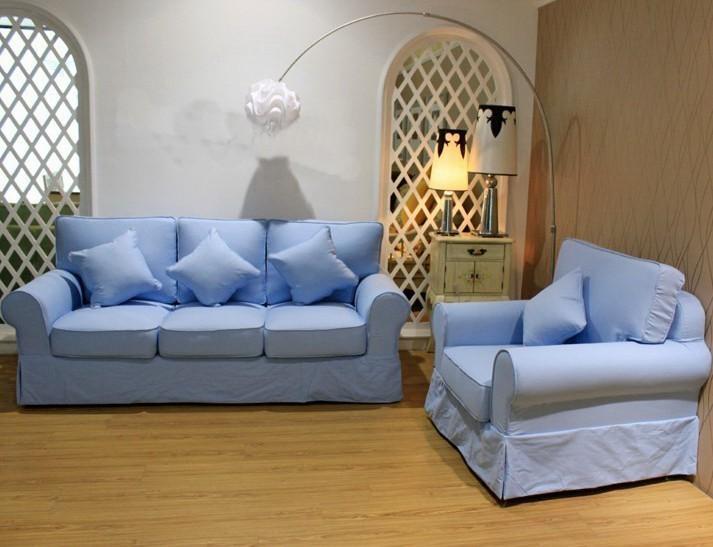 天蓝色欧式沙发