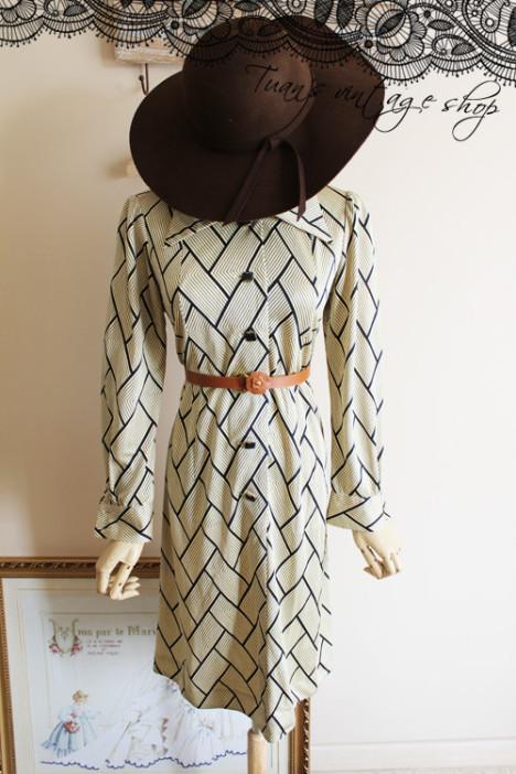 旧美人 古着复古vintage孤品连衣裙