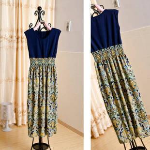 拼接花纹无袖长款高品质连衣裙高腰花纹裙摆长裙