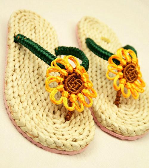 手工编织拖鞋鞋底搭配