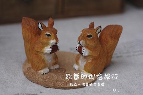 手工木雕小松鼠/原木小动物摆设zakka杂货/拍摄道具/装饰摆件摆设