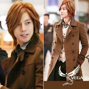 超人气秋冬 韩国超人气明星金贤重同款风衣男外套红咖高贵时尚