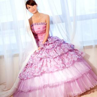 [可爱]时尚抹胸礼服长款公主蓬蓬裙女歌手舞台演出晚礼服演出服舞台