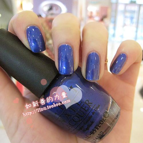 指甲油宝蓝色搭配图片