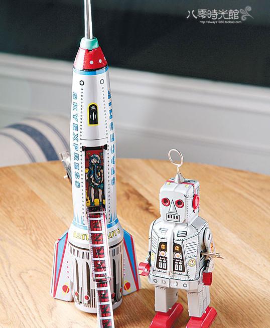 怀旧铁皮发条玩具 大型火箭