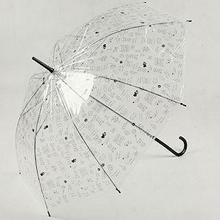 韩国可爱矢量手绘卡通图案 自动式长柄伞|透明雨伞