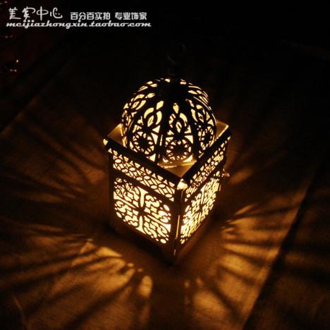 摩洛哥欧式复古镂空 教堂穹顶古典铁艺烛台