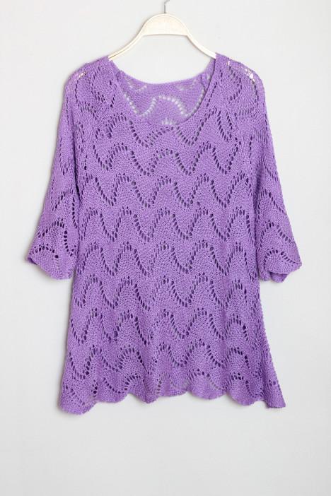 紫色波浪毛衣搭配图片