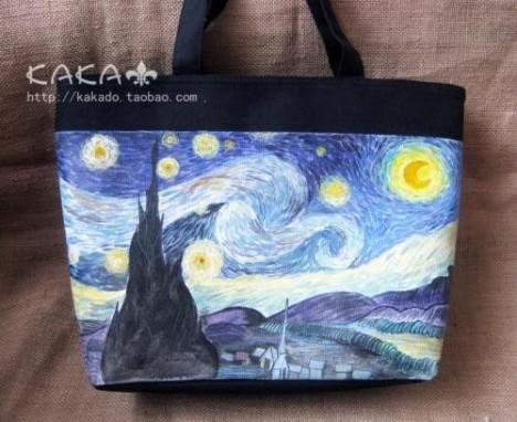 卡卡创意手绘 帆布包  手绘包 【梵高星空】