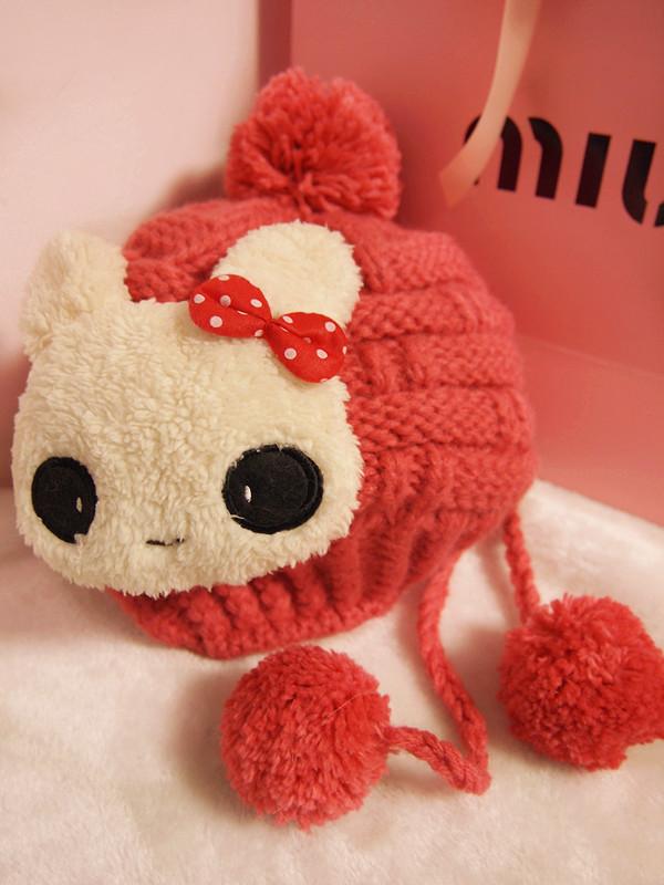 可爱小兔娃娃装饰温暖毛线编织毛线手工帽子西瓜红甜美可爱日系