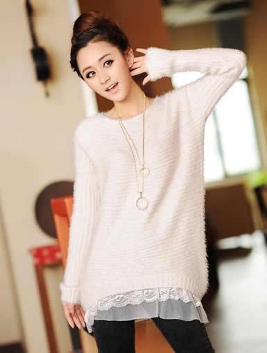 新款毛衣韩版蕾丝花边宽松针织衫毛衣罩衫大码毛衣