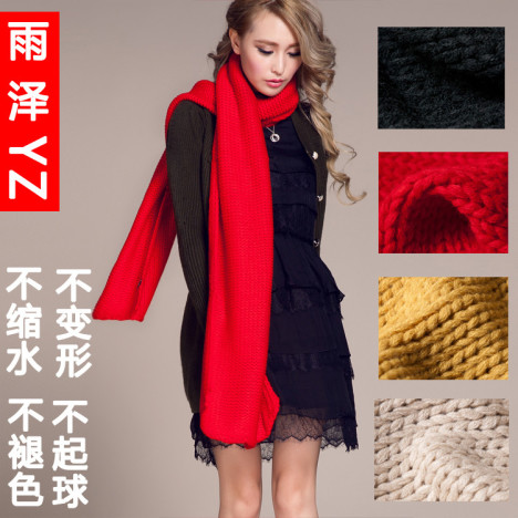毛线红色围巾搭配