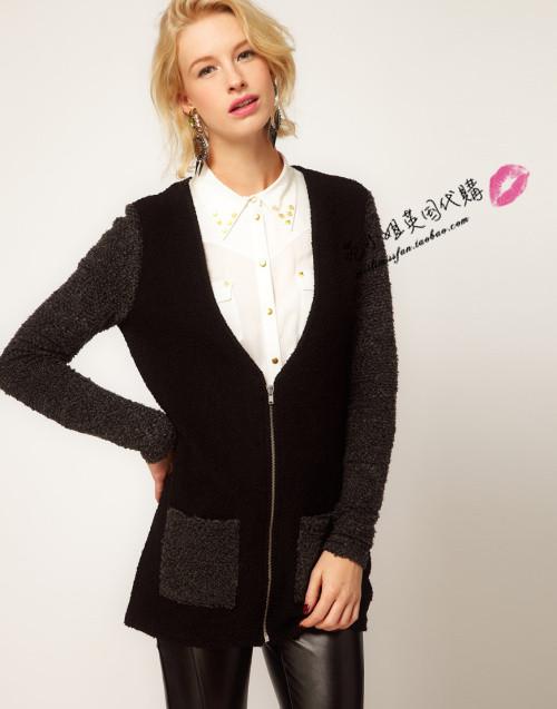 黑色外套灰色毛衣搭配图片
