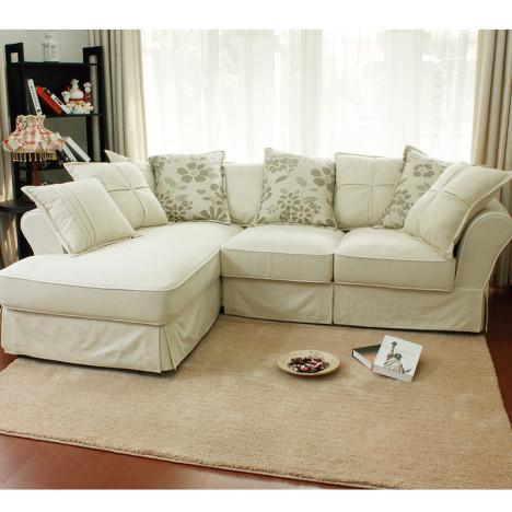 家地中海 转角贵妃 小户型全拆洗布艺沙发组合图片