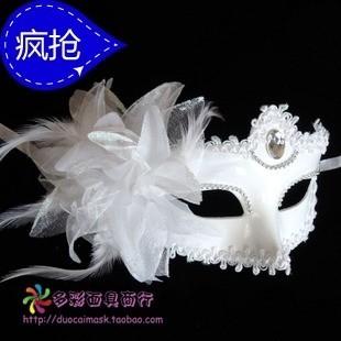 万圣节面具女士面具白色面具化妆舞会面具公主侧花面具
