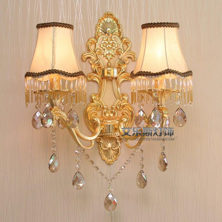 壁灯 欧式奢华水晶壁灯大号客厅卧室壁灯双头ktv酒吧