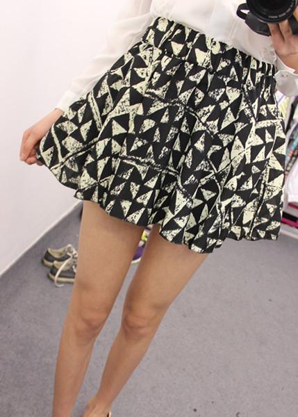三角皇冠图案高腰短裙半身裙