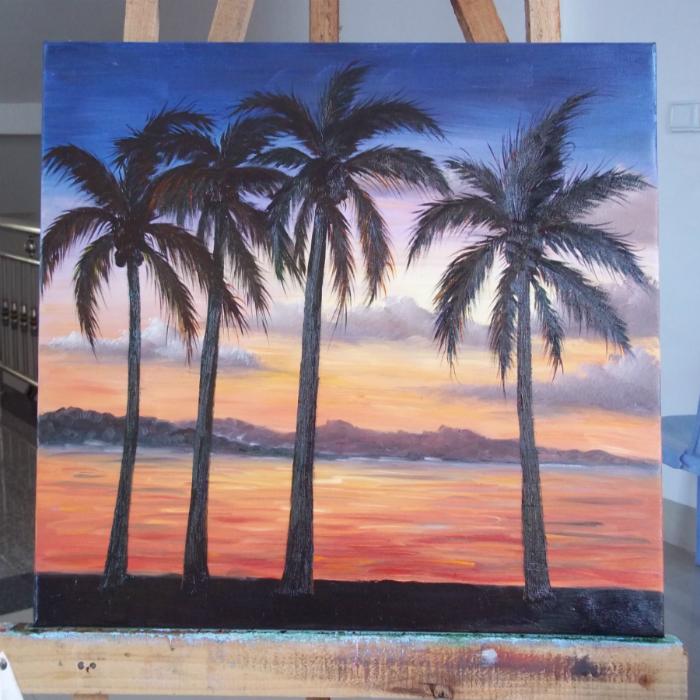 纯手绘油画,写实黄昏椰子树风景无框画.