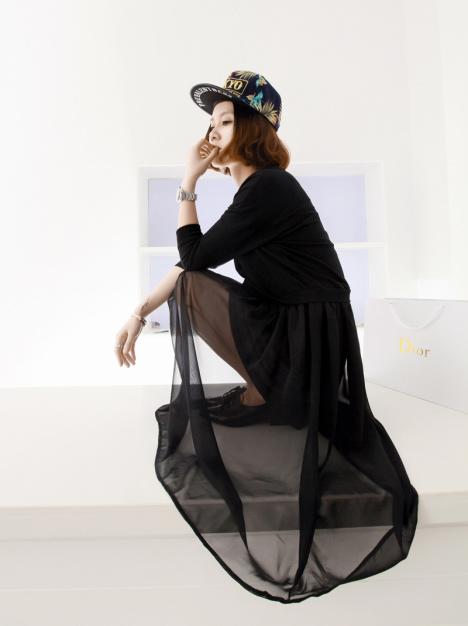小景家2013春装新款女欧美街拍宽松卫衣拼接雪纺长裙图片