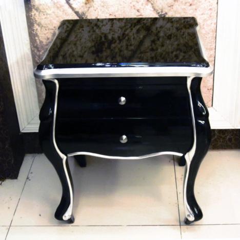 美式实木黑色床头柜 新古典后现代家具