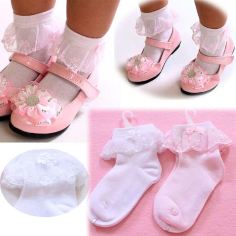 公主花边蕾丝女童白色粉色短袜