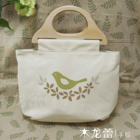 小鸟与橄榄叶 小清新森女系手绘包包纯棉帆布