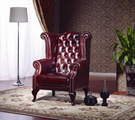 欧式休闲真皮椅 真皮单人沙发