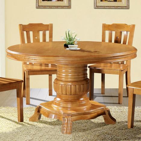 欧式圆餐桌实木 古典圆桌面带转盘饭桌