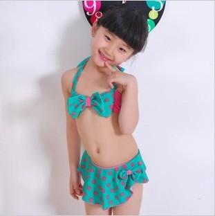 2013可爱女童比基尼儿童泳衣可爱波点中大童泳装 女宝舞台演出服