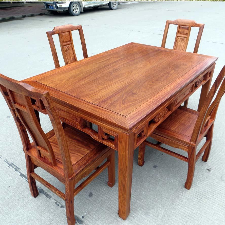 正宗花梨木实木红木长方形餐桌椅配套家具/中式明清