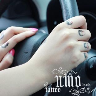 防水纹身贴纸 复古女人图案老虎头手指小图刺青图片