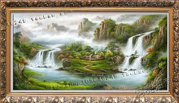 手绘 风景油画聚宝盆山水画 风水画有框客厅玄关装饰画横版竖版