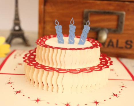 生日蛋糕 手工立体创意节日定制纸雕祝贺生日.