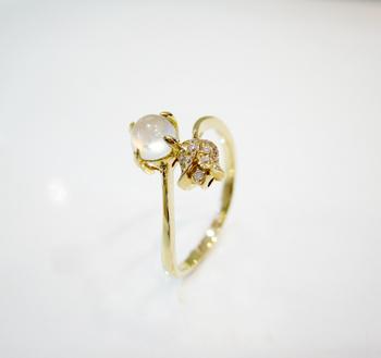 正品天然 18k黄金镶嵌a货冰种翡翠戒指 郁金香k金翡翠戒指 特别的设计