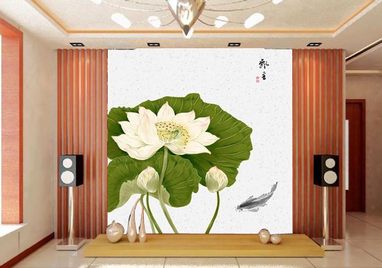 中式大型壁画壁纸 飘香荷花鲤鱼电视沙发背景墙 玄关壁画壁纸包邮图片