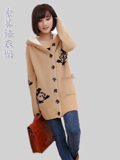 2013秋冬装新款针织开衫外套米奇大衣连帽加绒加厚长袖毛衣针织衫
