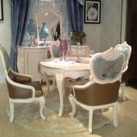 雪惟 1.3米小餐桌 欧式圆餐桌 白色实木圆餐.