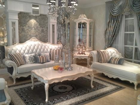 欧式真皮沙发 白色实木沙发1+3+贵妃