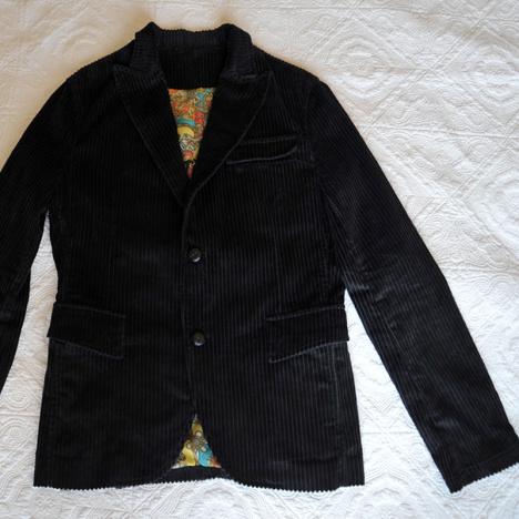 复古条绒西装外套 男式雪纺定位欧式花纹里料男西服