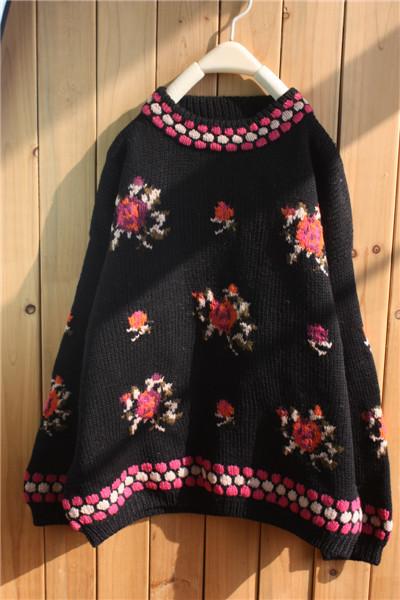 甜美钩花~vintage古着毛衣手工棒针编织 套头 森女系复古毛衣