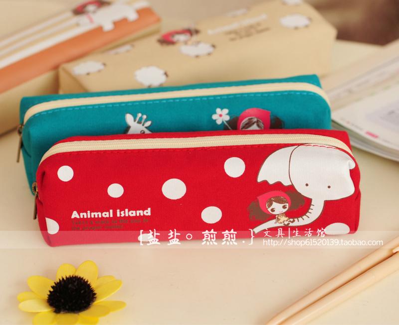 普拉女孩方形笔袋 可爱卡通女生文具袋创意文具盒
