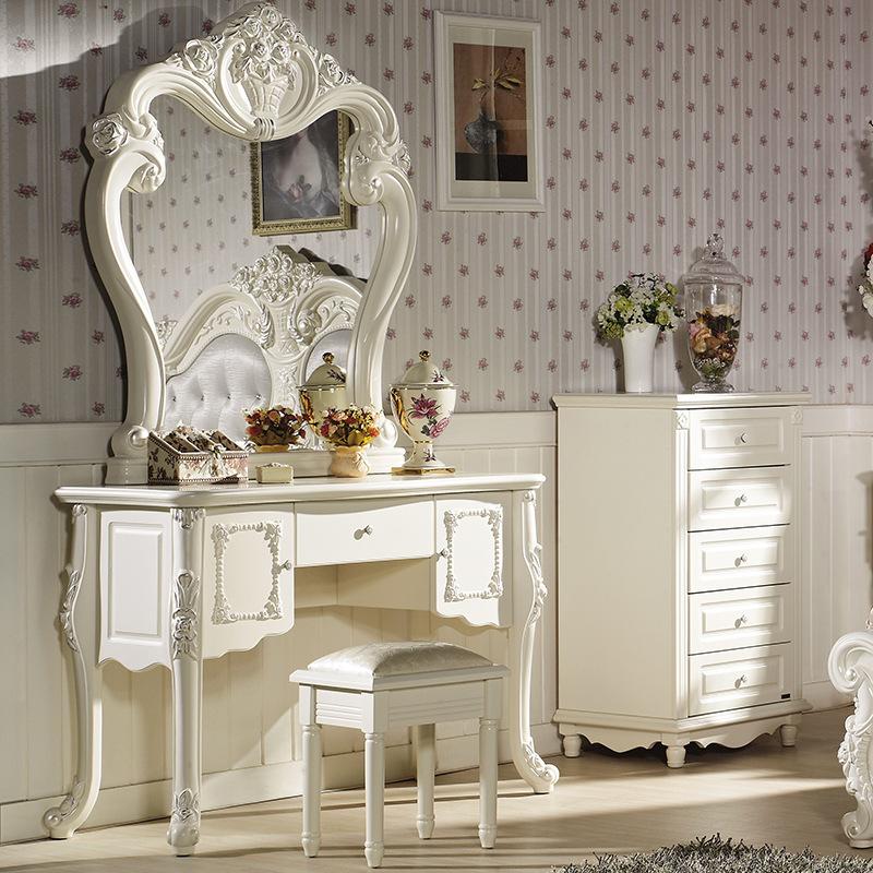 东莞厂家直销 实木家具欧式家具欧式梳妆台白色化妆台欧式镜子