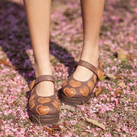原创手工民族风甜美森女单鞋心形拼接厚底术