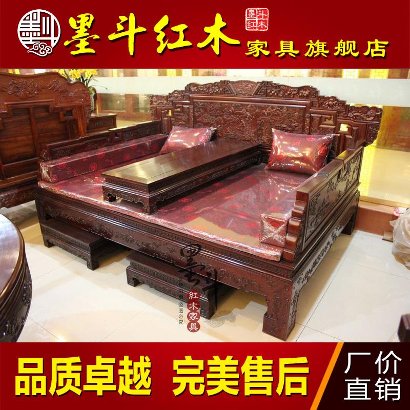 红木家具罗汉床搭配图片